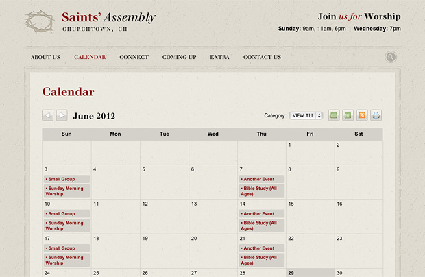 Church Website 1203 Sub Page